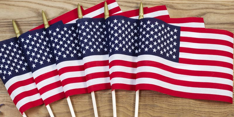 a row of small American flags
