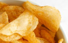 close up of potato chips in a bowl