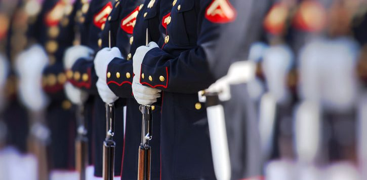 close up of Marines in a line