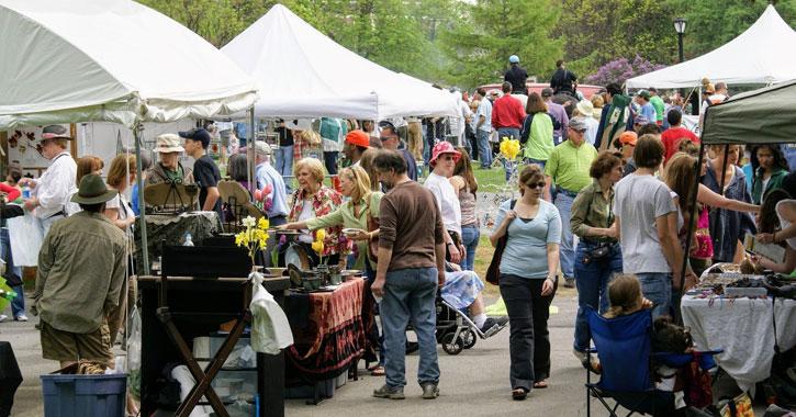 crowd browsing vendors at Tulip Festival