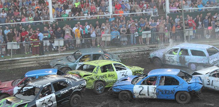 cars in a demolition derby