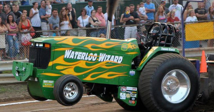 green tractor in show