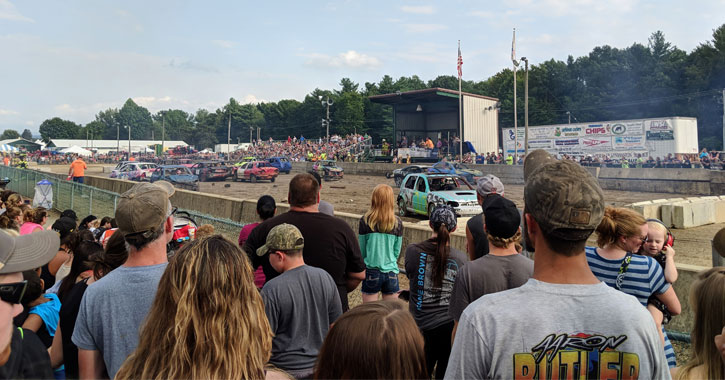 crowd watching demolition derby