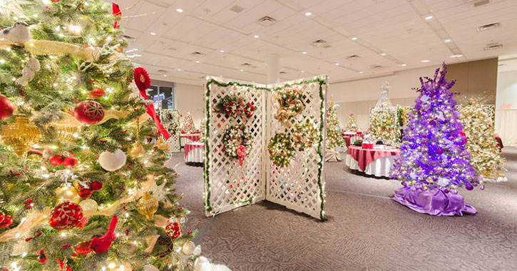 decorated trees in room