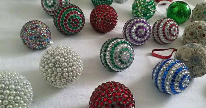 round and colorful holiday ornaments