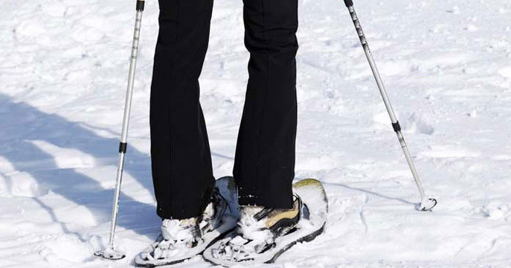 snowshoes on a person
