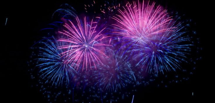 purple and blue colored fireworks