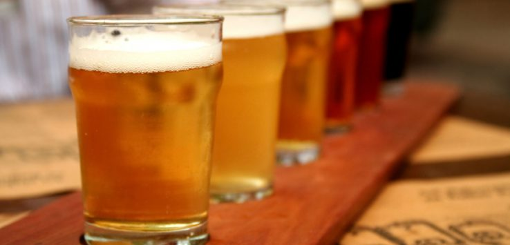 row of beer glasses