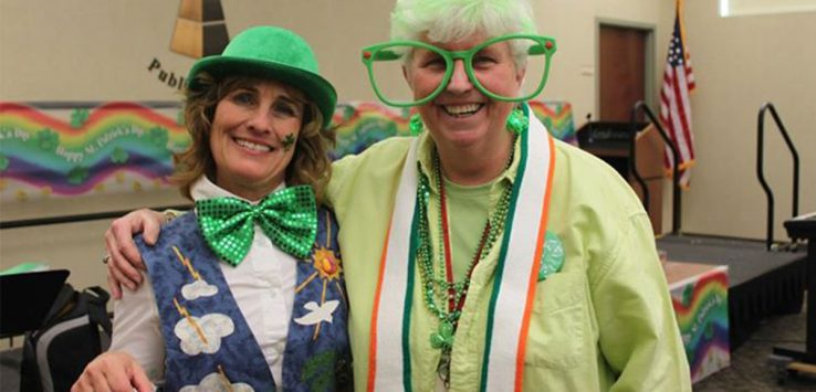 two women dressed for st. patrick's day
