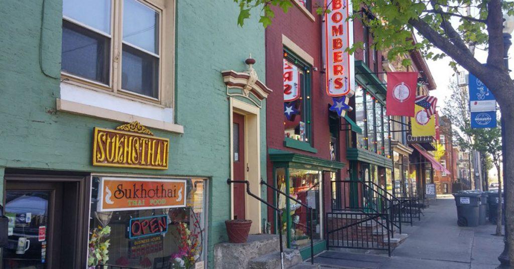 lark street sidewalk and businesses
