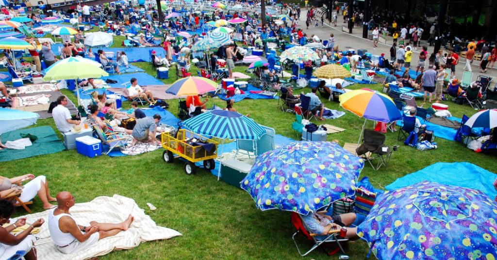 people on lawn at SPAC
