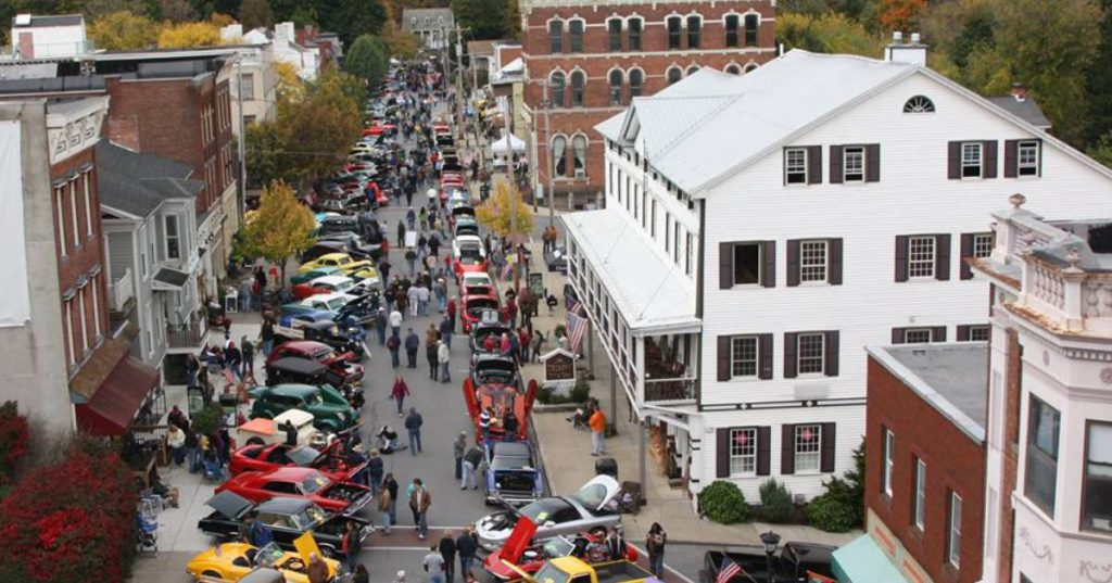 aerial view of a car show