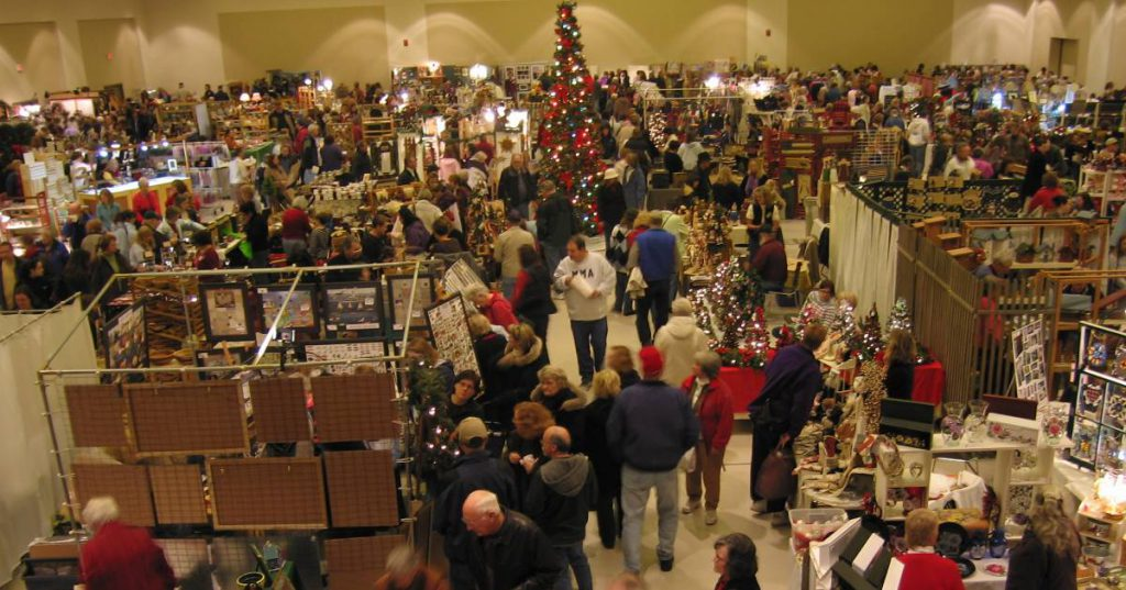 crowd shopping at a holiday market
