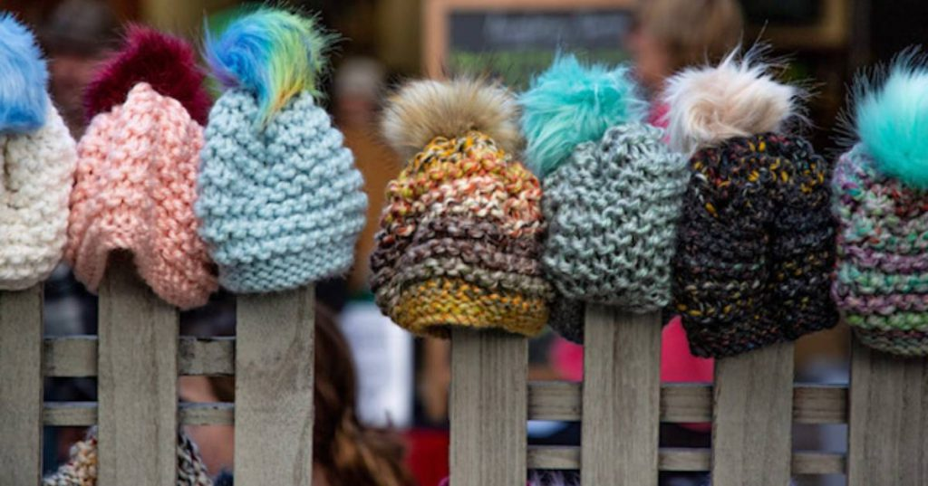 knit hats on display