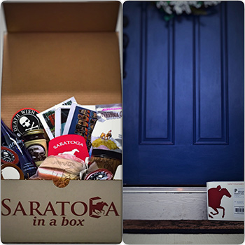 saratoga in a box gift items and box on a porch stoop