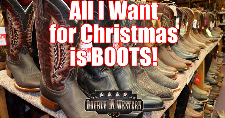 boots on display with text reading All I Want for Christmas is Boots!