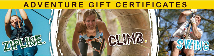 logo for Adirondack Extreme Adventure gift certificates with ziplines, climbing, and swinging