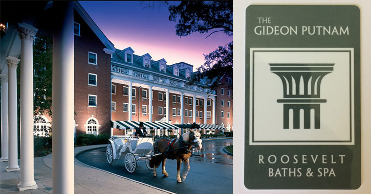 a horse drawn carriage in front of the Gideon Putnam on the left, Gideon Putnam logo on the right