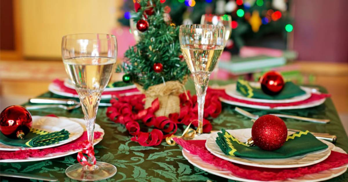 table with holiday decor
