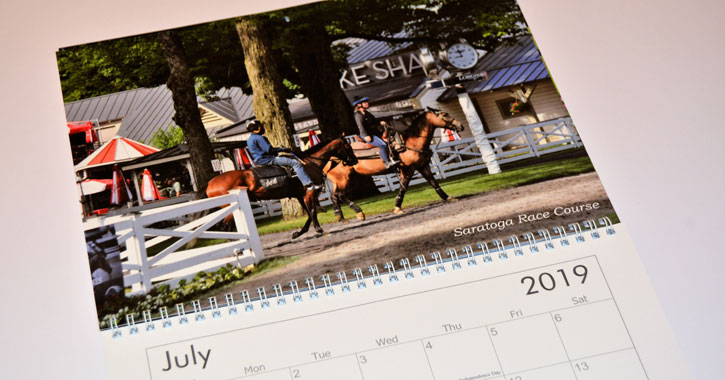 a calendar opened to July 2019