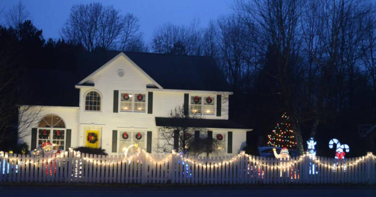 house with lights and holiday decor