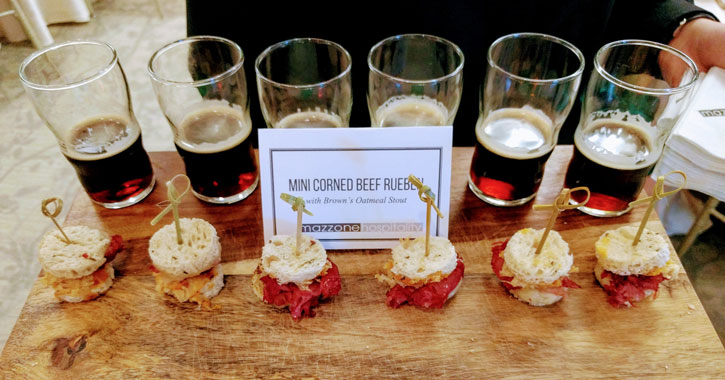 tray of reuben hors d'oeuvres with oatmeal stout from Mazzone Hospitality