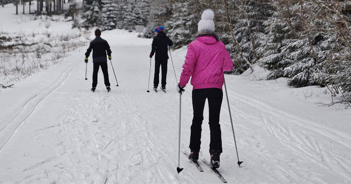 three people cross-country skiing with trees to the right of them, woman in foreground has a pink coat and white hat with a pom pom on top