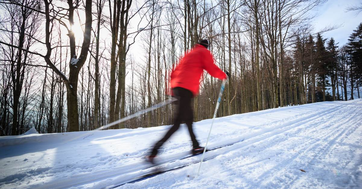 skier in a red coat cross country skiing across a trail