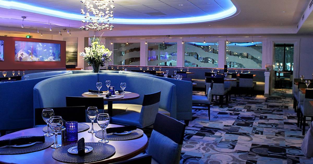 blue themed dining room