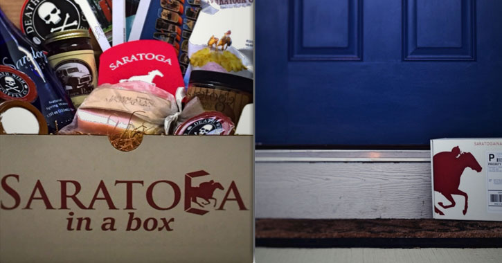 split image with Saratoga in a Box box with items on the left and a blue front door with a package containing the box on the right