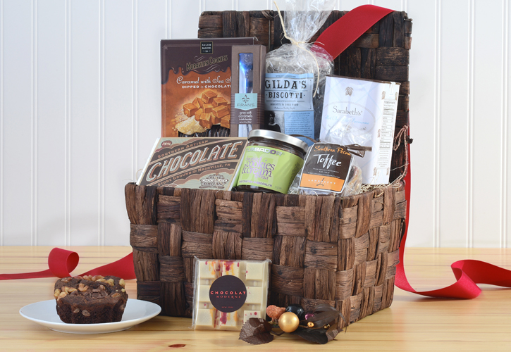 gift basket with chocolate, toffee, biscotti, etc.