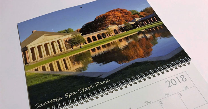 2018 calendar with Saratoga Spa State Park in the fall