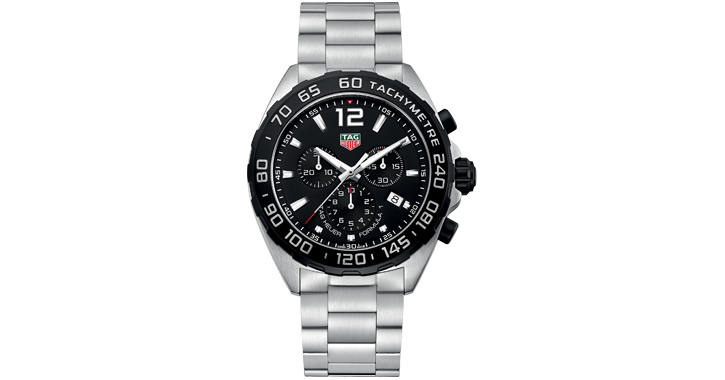 an elegant looking silver and black colored watch