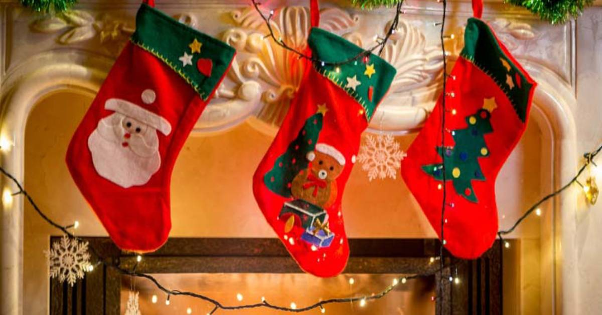 three red holiday stockings