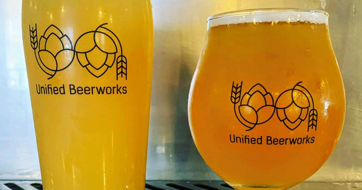 two Unified Beerworks beer glasses