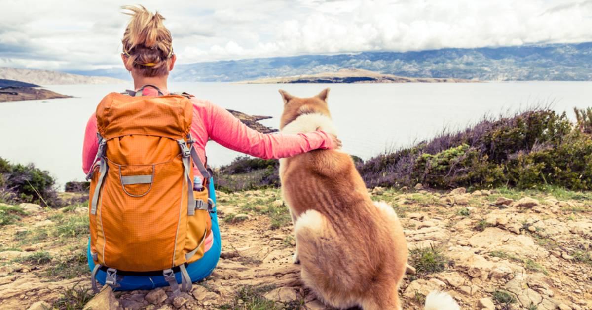 woman and dog near shoreline