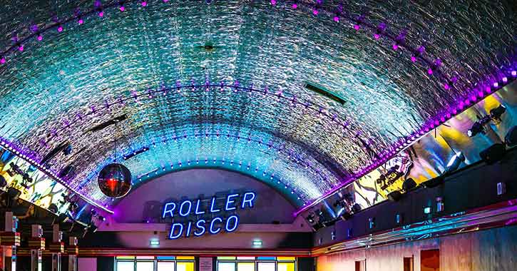 Retro looking roller disco